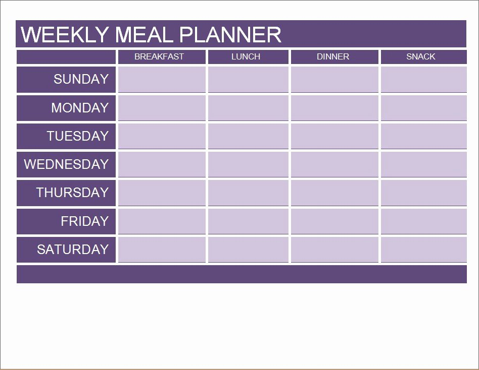Excel Meal Plan Template New Meal Planner Calendar