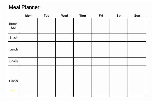 Excel Meal Plan Template Unique Menu Planner Excel