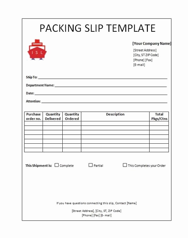 Excel Packing Slip Template Awesome Packing Slip Template