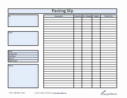 Excel Packing Slip Template Lovely Packing Slip Template Excel Blank Shipping form