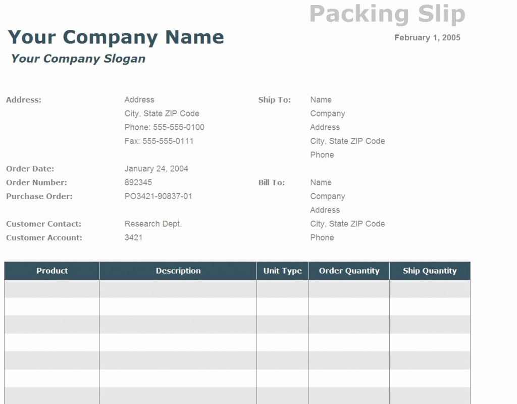 Excel Packing Slip Template Luxury Packing Slip Template Packing Slip