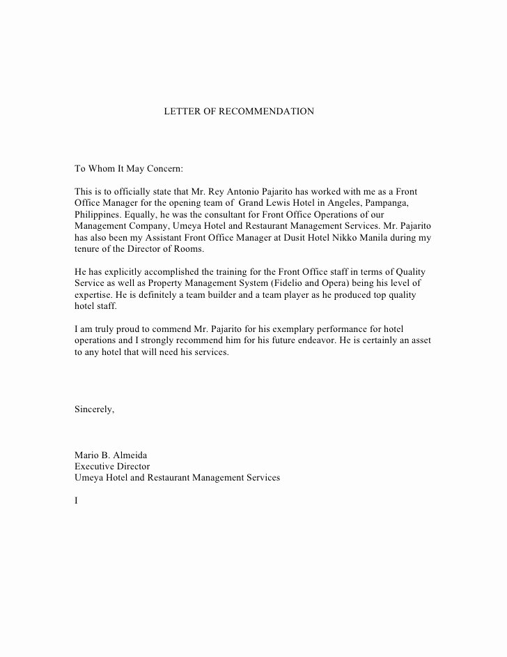 Executive Letter Of Recommendation Awesome Letter Of Re Mendation From Mr Mario Almeida Executive