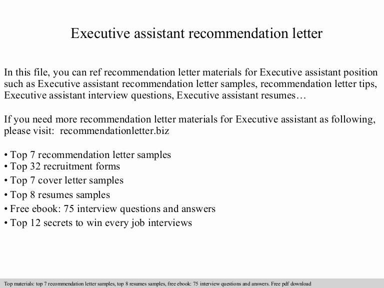 Executive Letter Of Recommendation Best Of Executive assistant Re Mendation Letter