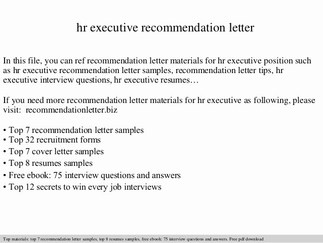 hr executive re mendation letter