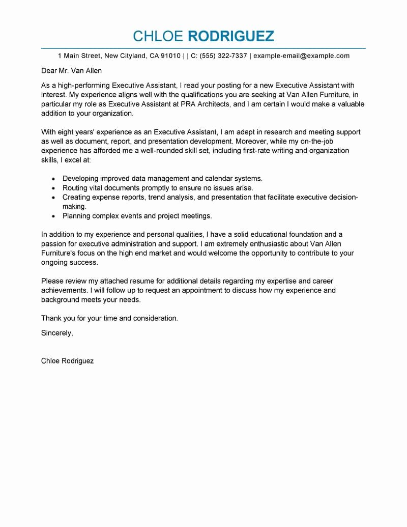 Executive Letter Of Recommendation Inspirational Best Executive assistant Cover Letter Examples