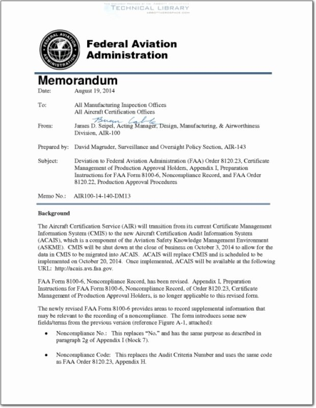 Faa Letter Of Recommendation Sample Fresh Faa Air 100 14 140 Dm08 Abbott Aerospace Sezc Ltd