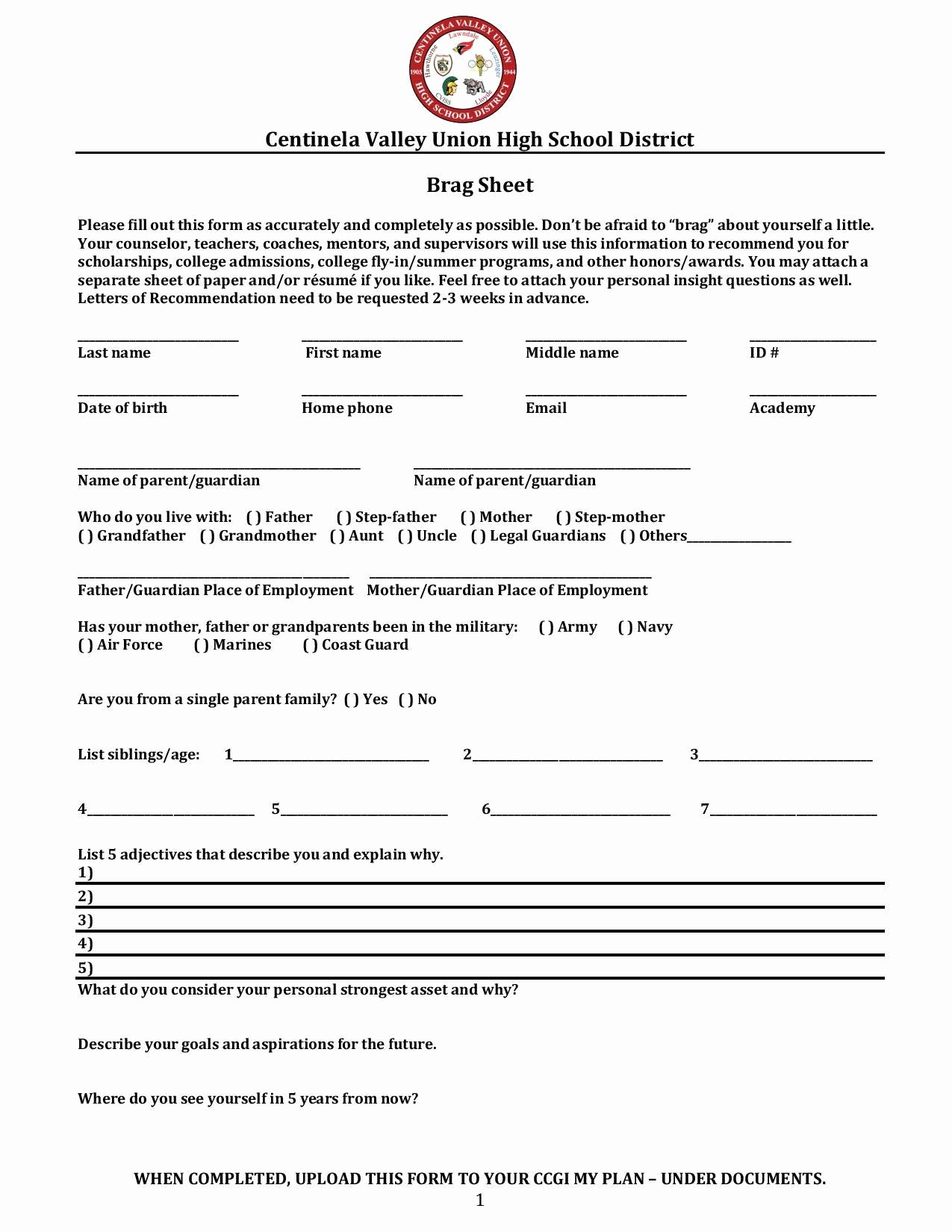 Faa Letter Of Recommendation Sample New Brag Sheet Letter Of Rec – Counseling – Lawndale High School