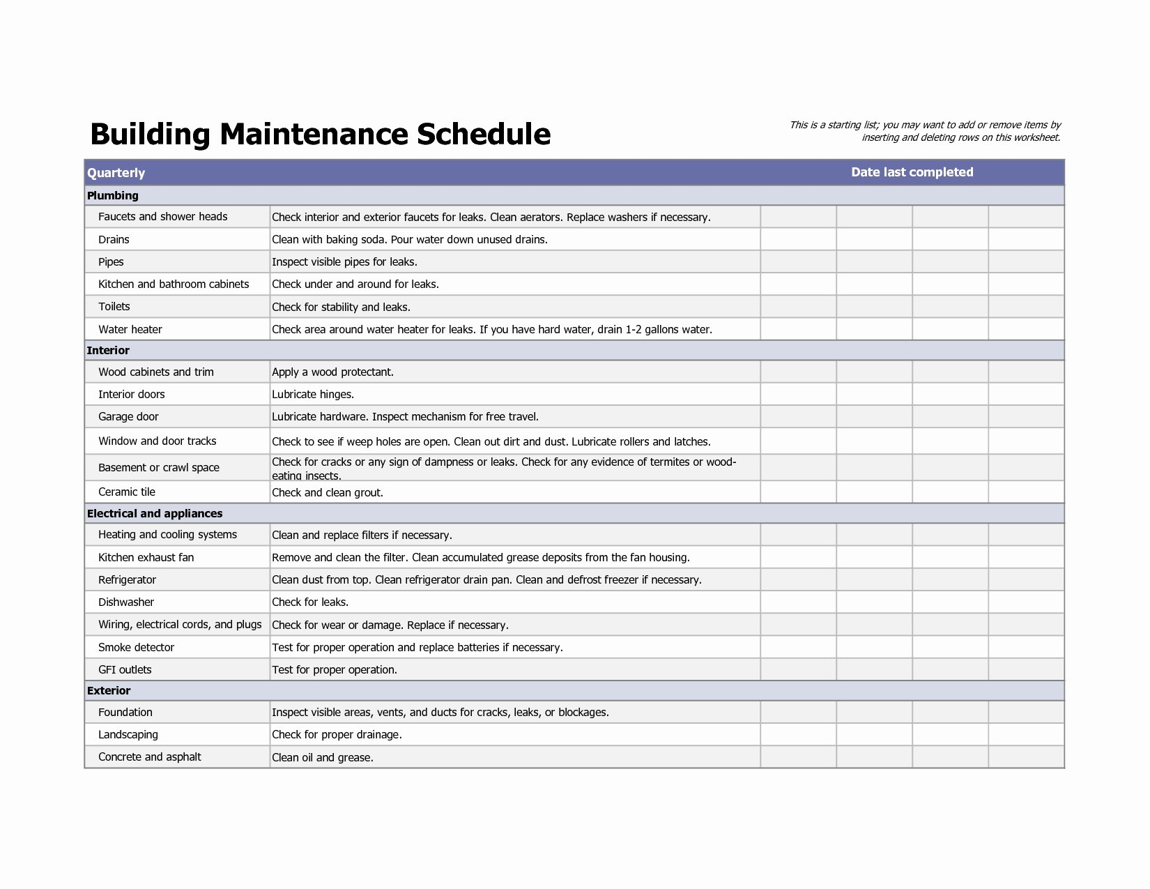 Facility Maintenance Plan Template Fresh Building Maintenance Schedule Excel Template