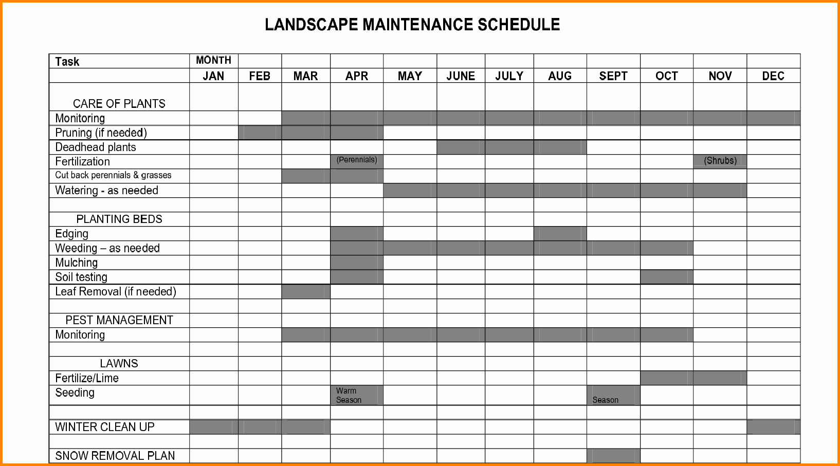 Facility Maintenance Plan Template New Plant Maintenance Schedule Template Excel