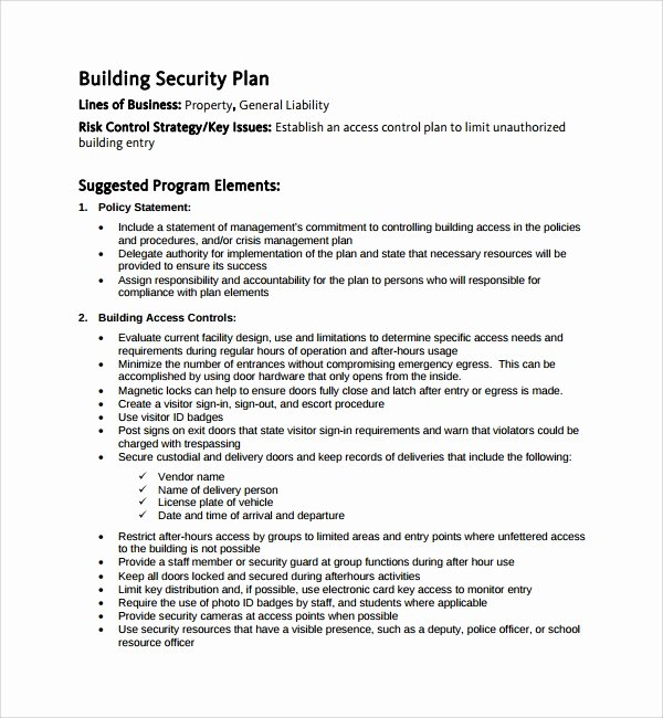 Facility Security Plan Template Best Of 10 Security Plan Templates
