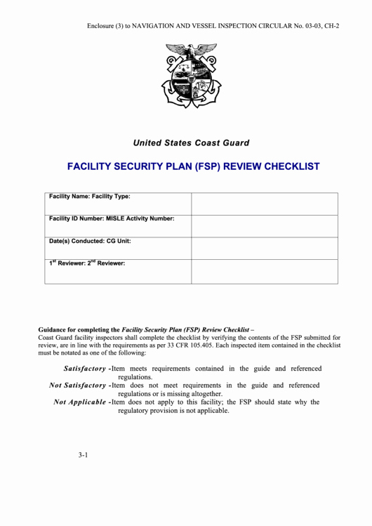 Facility Security Plan Template Best Of Facility Security Plan Fsp Review Checklist Template