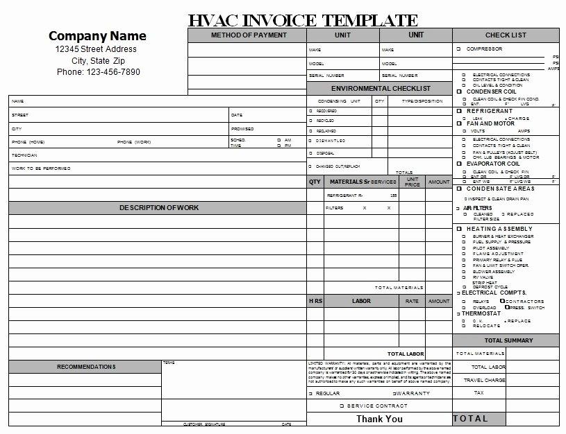 Fake Auto Repair Receipt Unique Hvac Repair Invoice Download
