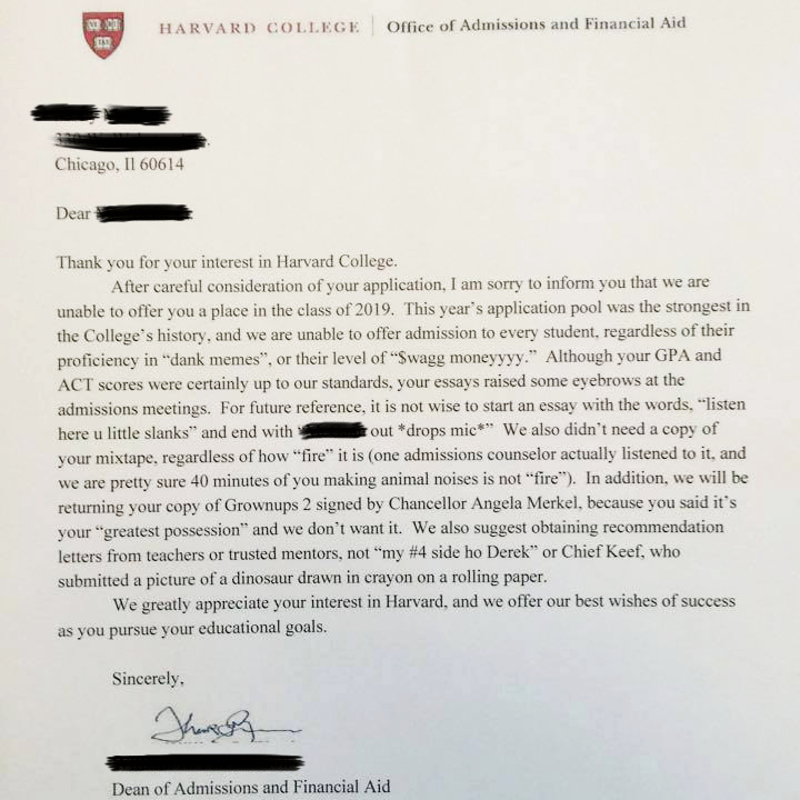 Fake Letter Of Recommendation Awesome Fake Harvard Rejection Letter Puts Chicago Student In