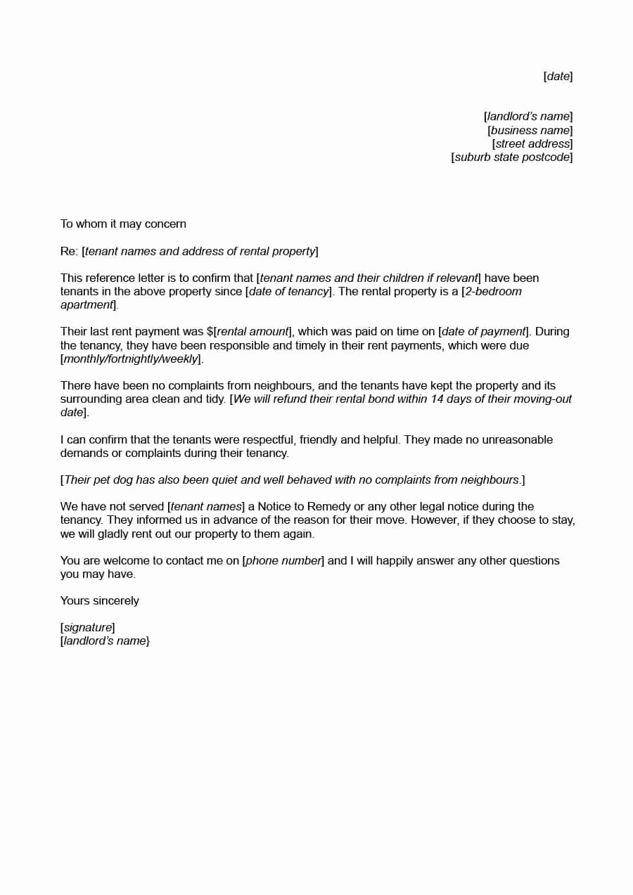 Fake Letter Of Recommendation New 40 Landlord Reference Letters & form Samples Template Lab