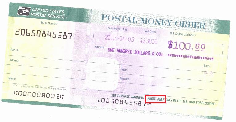 Fake Money order Receipt New Postal Money order