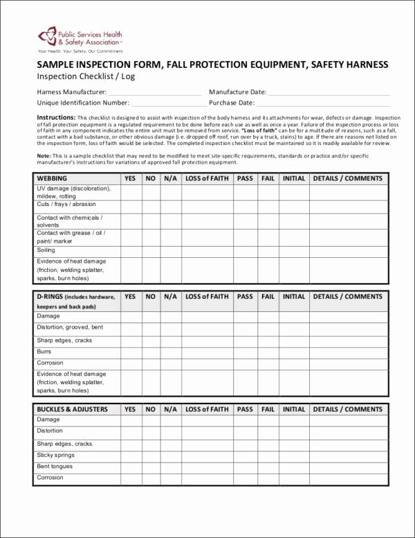 Fall Protection Plan Template Beautiful Harness Inspection Sheet to Pin On Pinterest