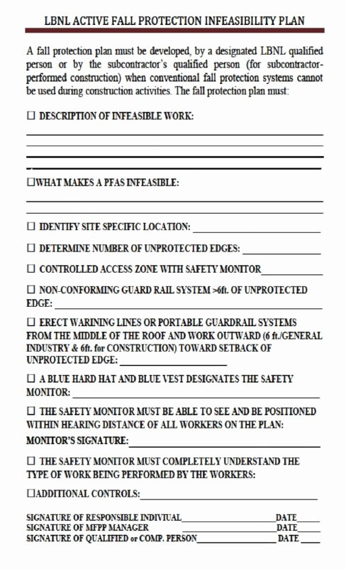 Fall Protection Plan Template Inspirational Fall Protection Plan Template