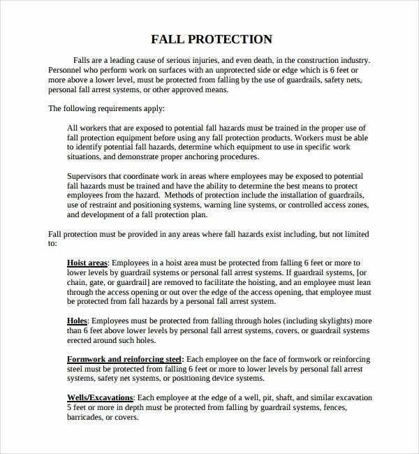 Fall Protection Plan Template Luxury Fall Protection Plan Template