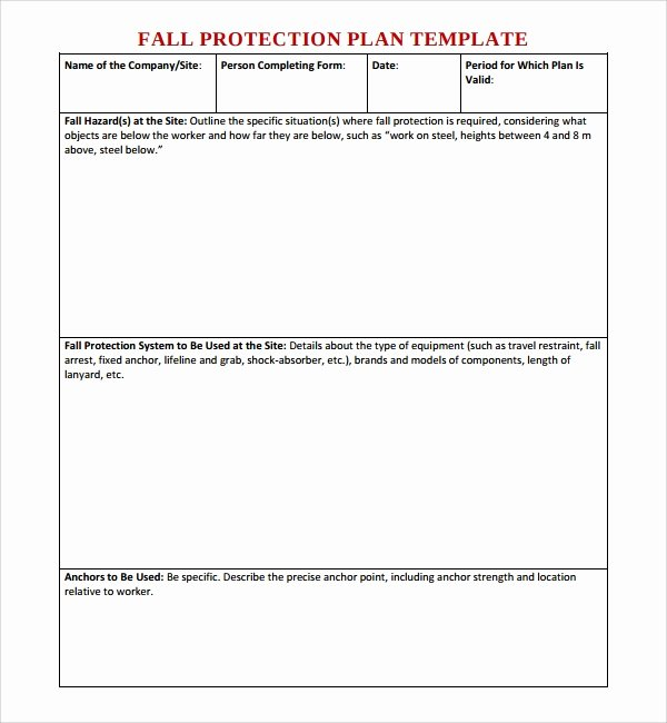 Fall Protection Plan Template New 10 Fall Protection Plan Templates