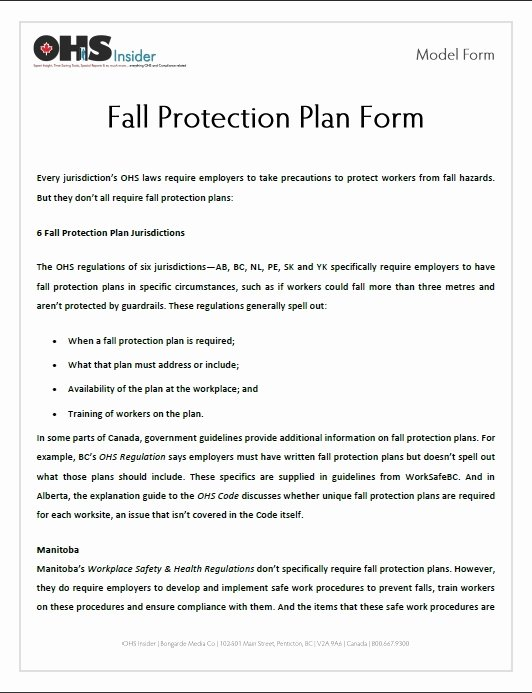 Fall Protection Plan Template New Fall Protection Plan Template Invitation Template