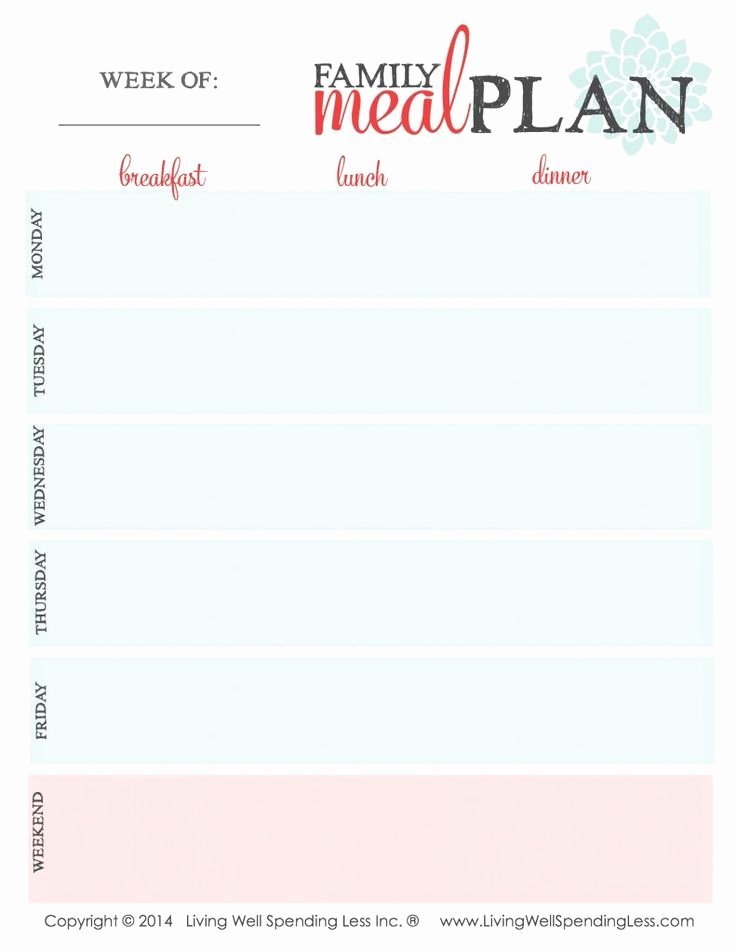 Family Meal Plan Template Best Of 1000 Ideas About Meal Planning Templates On Pinterest