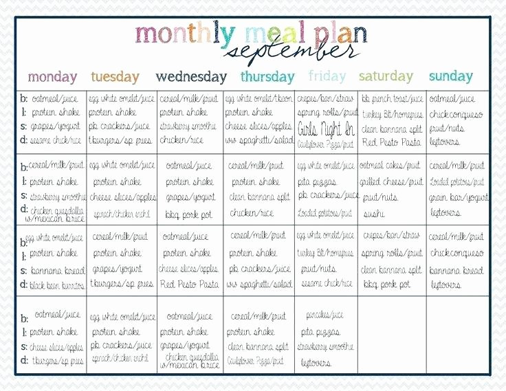 Family Meal Plan Template Inspirational Menu Planner Excel