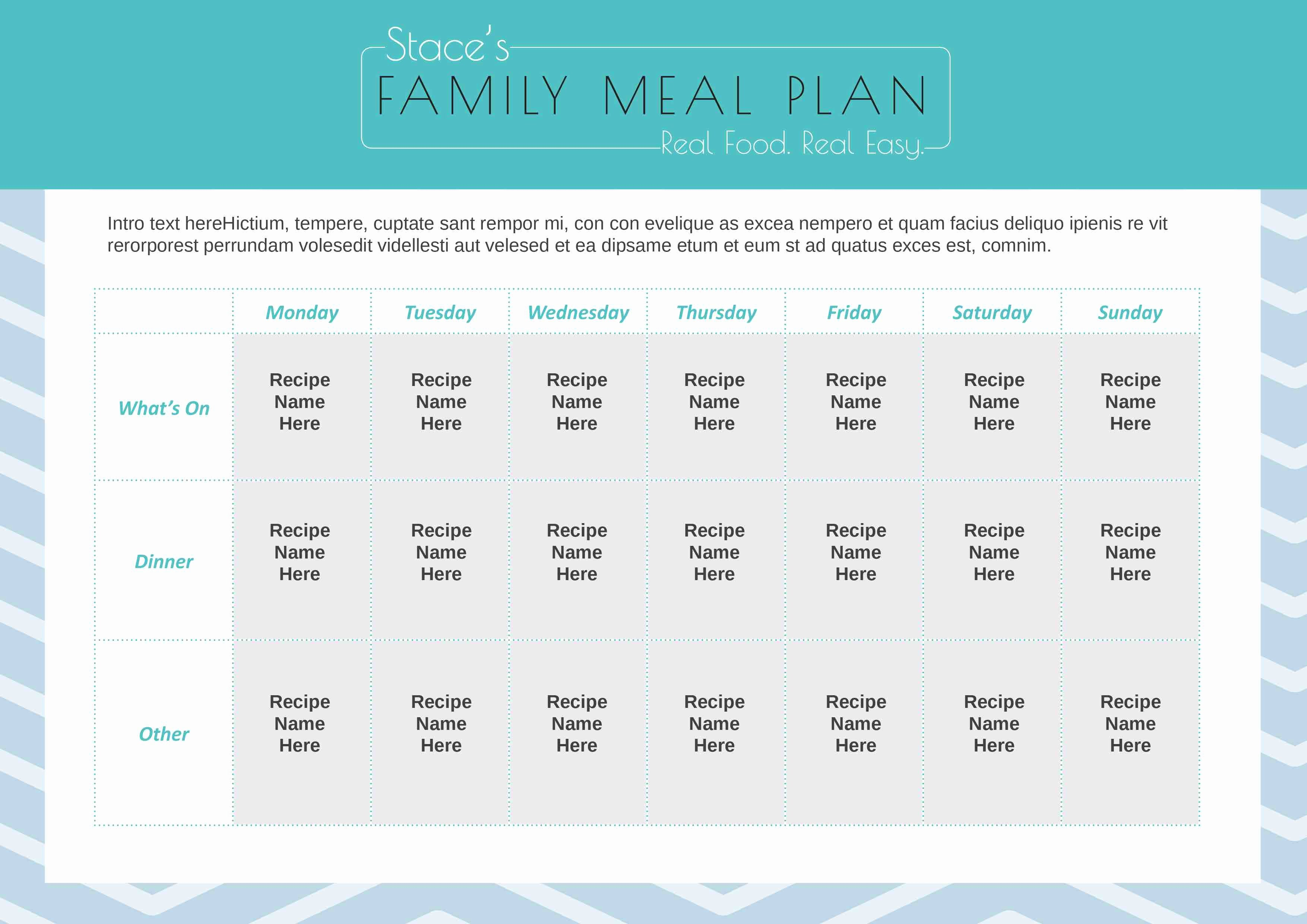 Family Meal Plan Template Inspirational Stacey Clare – A Healthy Mum