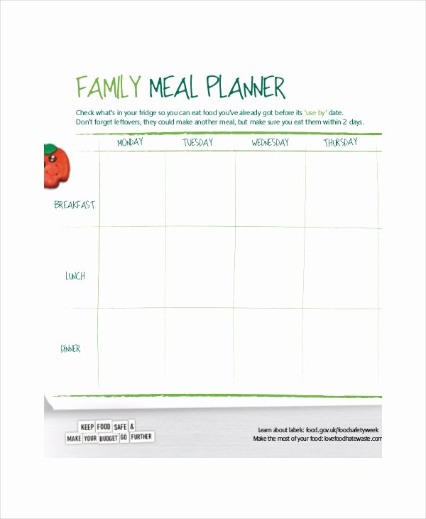 Family Meal Plan Template Inspirational Weekly Meal Planner 10 Free Pdf Psd Documents Download