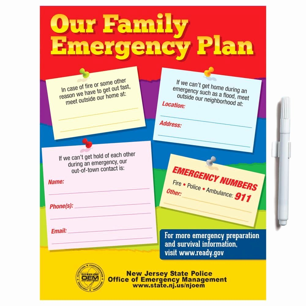 Family Safety Plan Template Fresh Our Family Emergency Plan Dry Erase Board & Wipe F