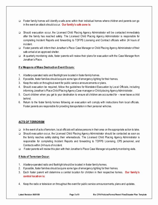 Family Safety Plan Template Unique Disaster Emergency Plan Template for Families