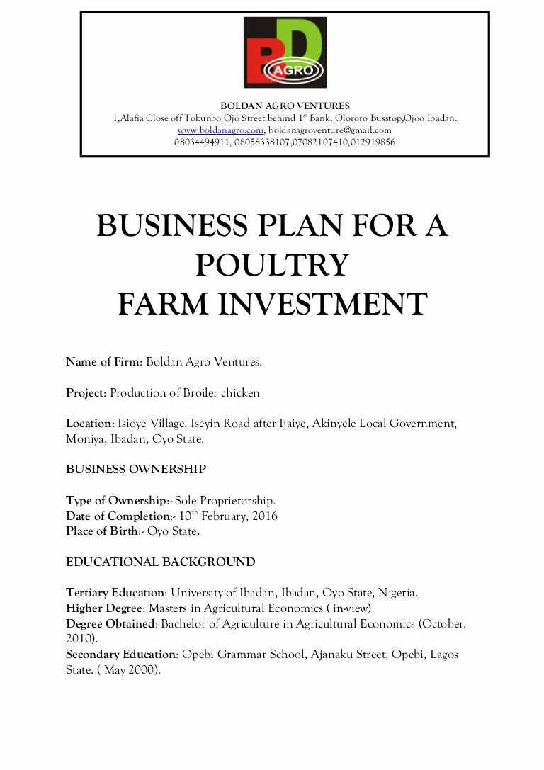 Farm Business Plan Template Inspirational Business Plan for A Poultry Farm Investment