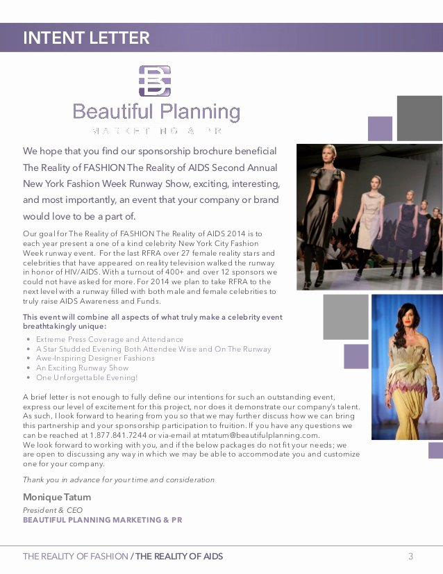 Fashion Show Sponsorship Letter Beautiful Second Annual the Reality Of Fashion the Reality Of Aids