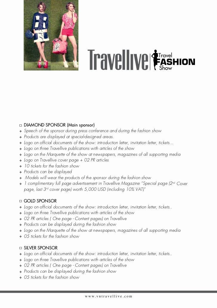Fashion Show Sponsorship Letter Luxury Summer Vacation Fashion for Life