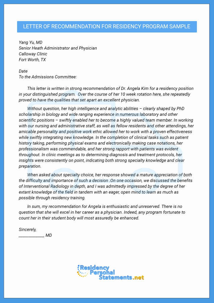 letter of re mendation for residency program sample