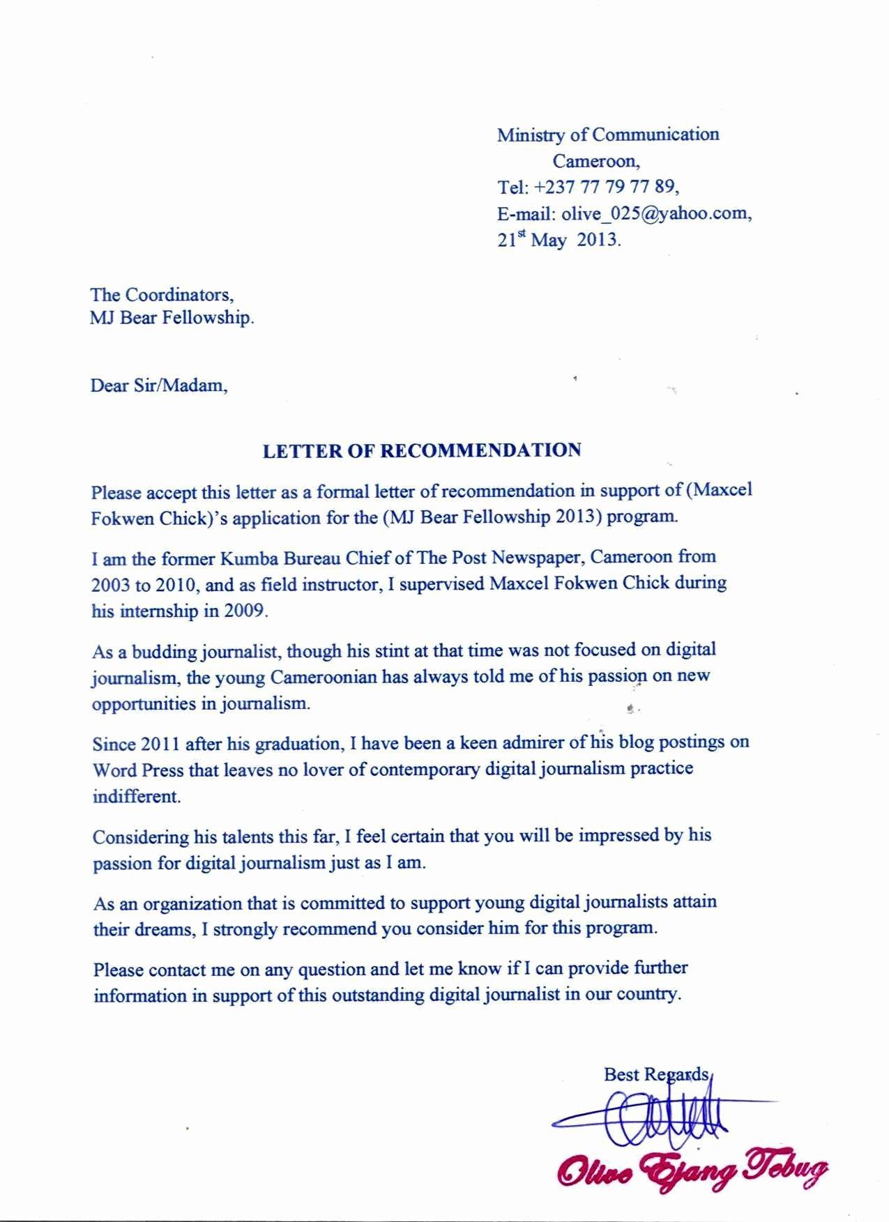 Fellowship Letter Of Recommendation Fresh Re Mendation Letter