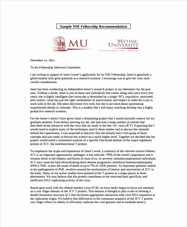 Fellowship Letter Of Recommendation Luxury Sample Letter Of Re Mendation 20 Free Documents