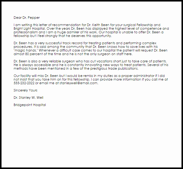 Fellowship Letter Of Recommendation New Fellowship Re Mendation Letter Example
