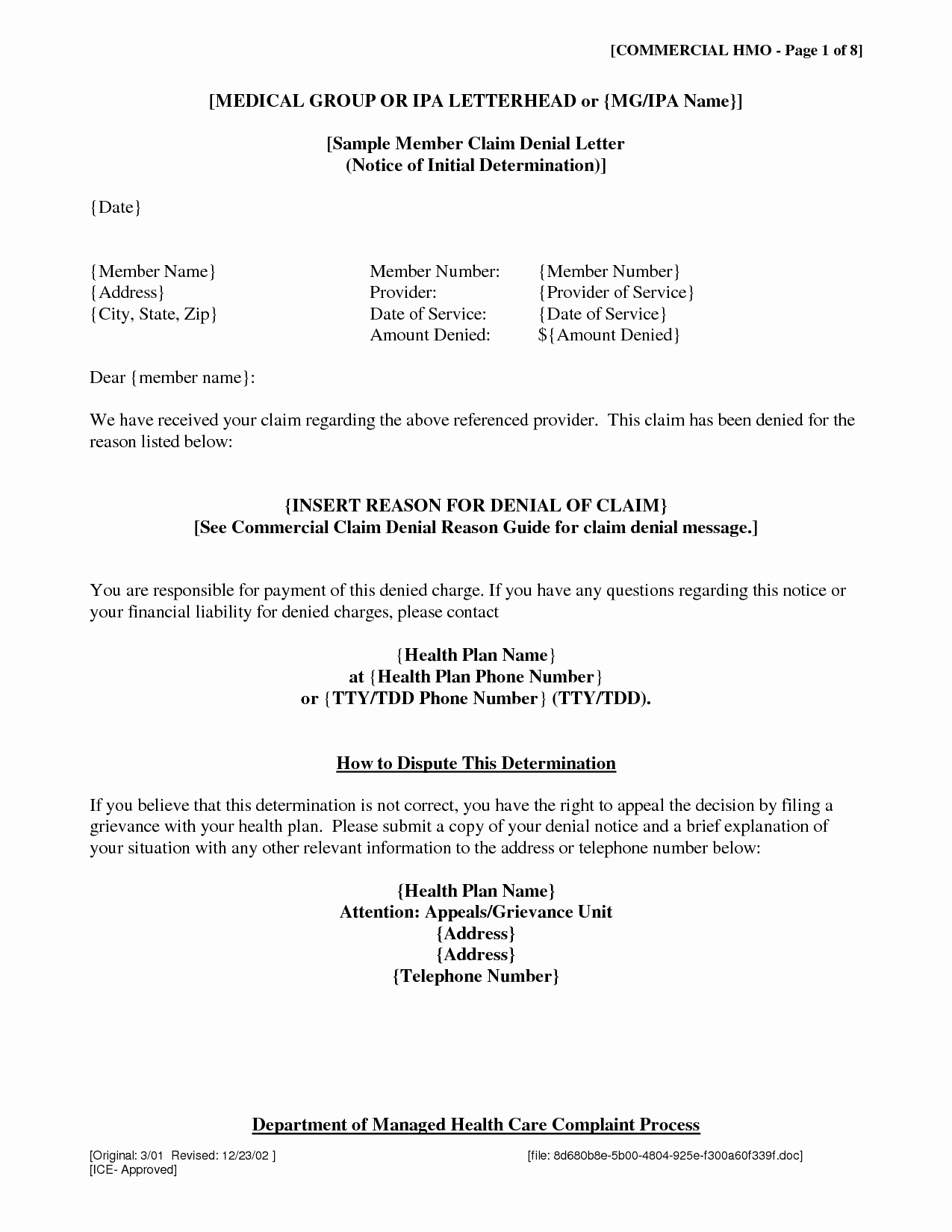 Fema Appeal Letter Template Elegant Insurance Denial Letter Free Printable Documents