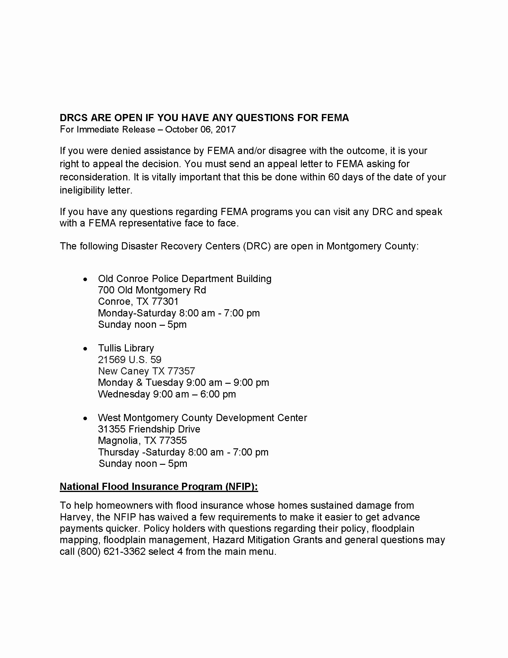 Fema Appeal Letter Template Fresh Press Release Drcs are Open In Montgomery County 10 6 17