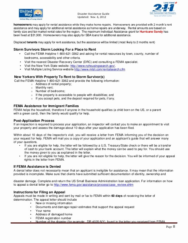 Fema Appeal Letter Template Inspirational 211 Long island Disaster Guide