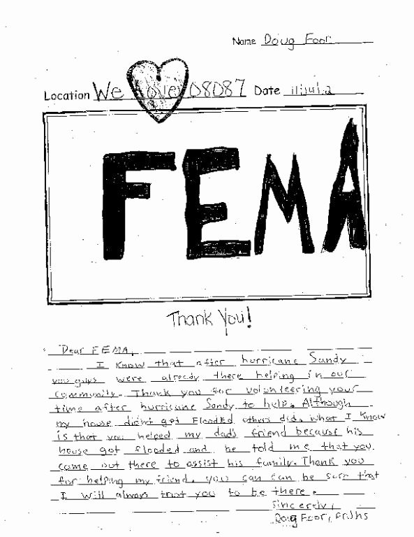 Fema Appeal Letter Template Lovely A Special Thanks From Pinelands Regional Junior High