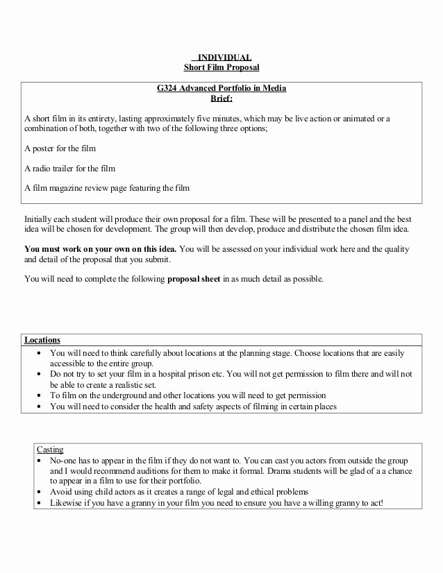 Film Business Plan Template Awesome Short Film Proposal