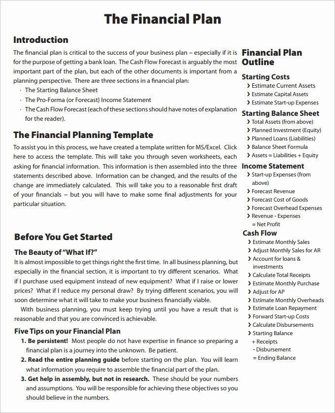 Financial Advisor Business Plan Template Luxury Financial Business Plan Templates 11 Premium Word
