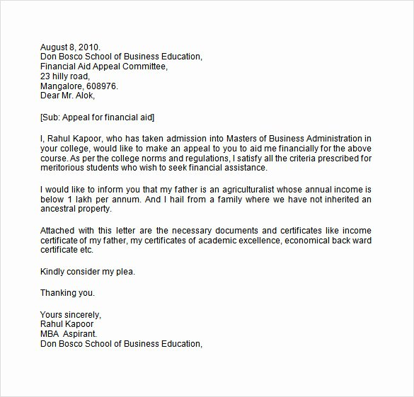 Financial Aid Appeal Letter format Beautiful 8 Financial Aid Appeal Letters Doc Pdf