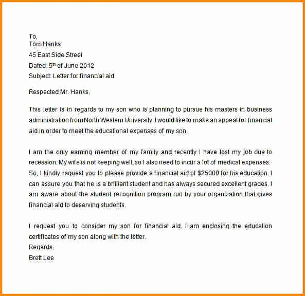 Financial Aid Appeal Letter format Beautiful 8 Sap Appeal Letter Examples
