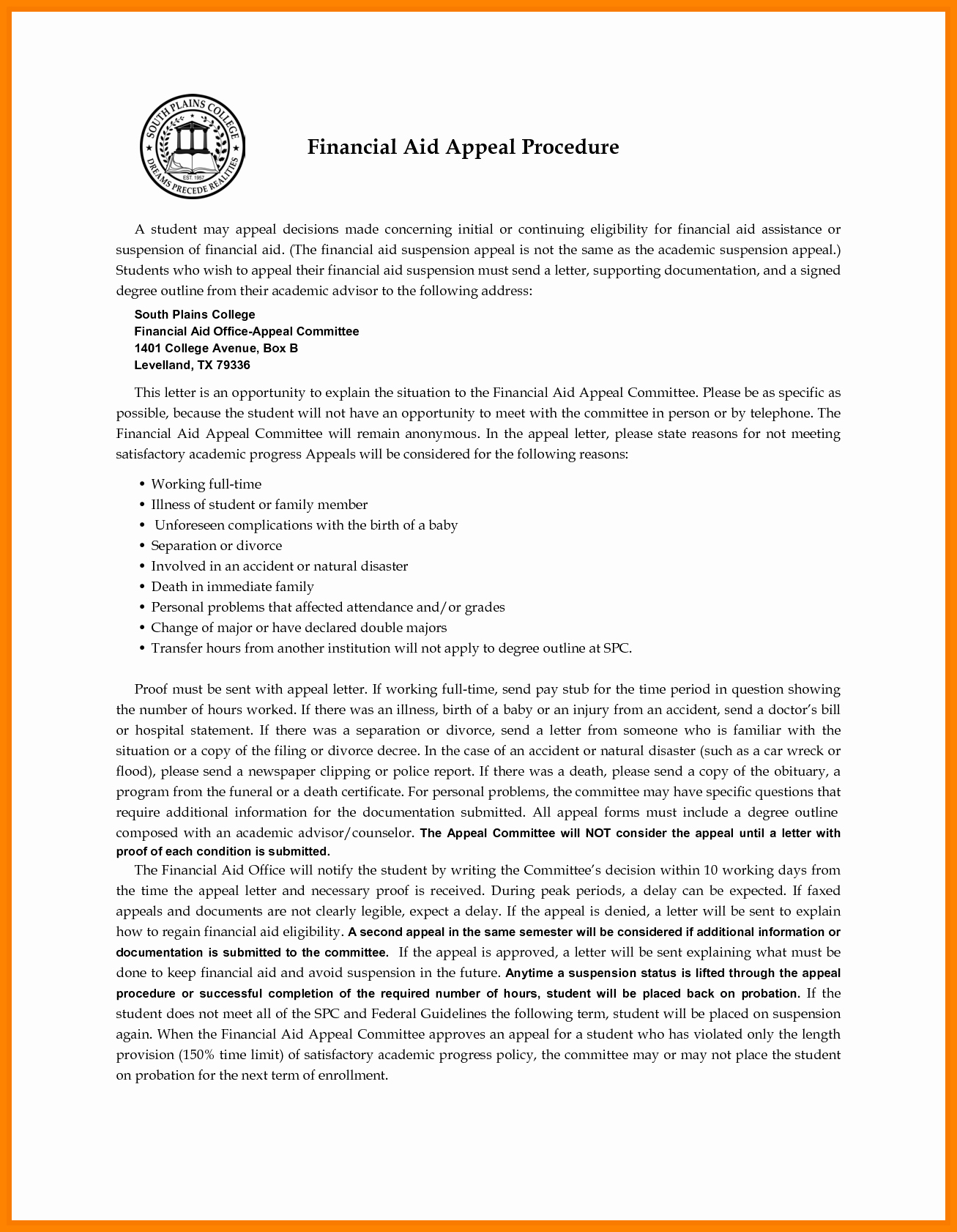 Financial Aid Appeal Letter format Elegant 6 Financial Appeal Letter