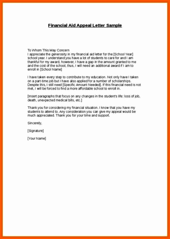 Financial Aid Appeal Letter format Fresh Financial Aid Reinstatement Appeal Letter Example