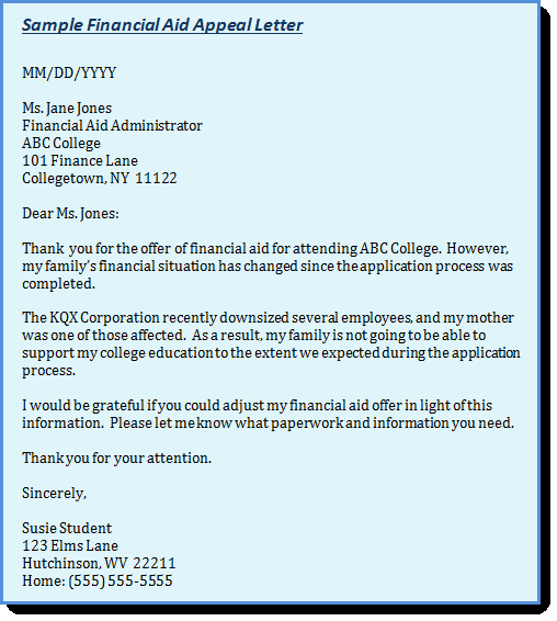 Financial Aid Appeal Letter format Luxury Example Appeal Letter