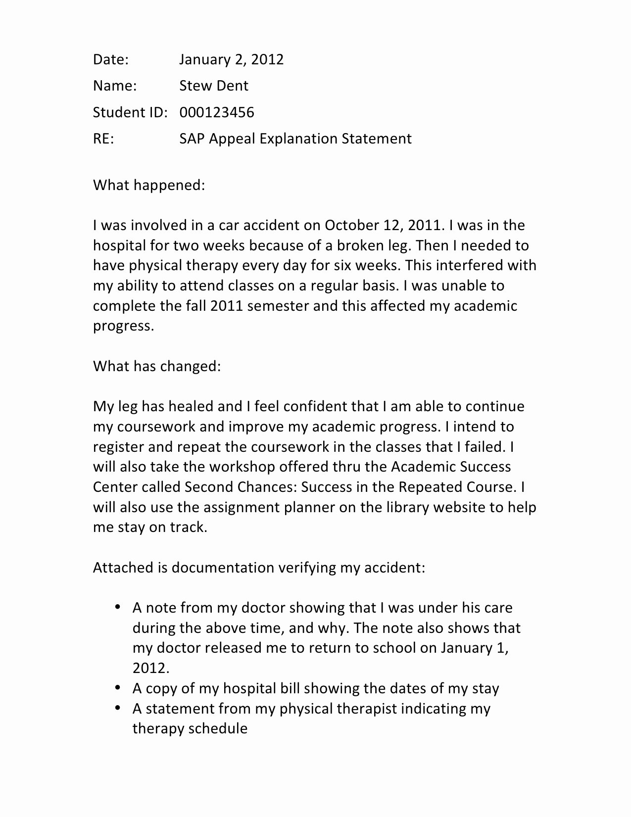 Financial Aid Appeal Letter format New Writing A Successful Sap Appeal Financial Aid Wayne