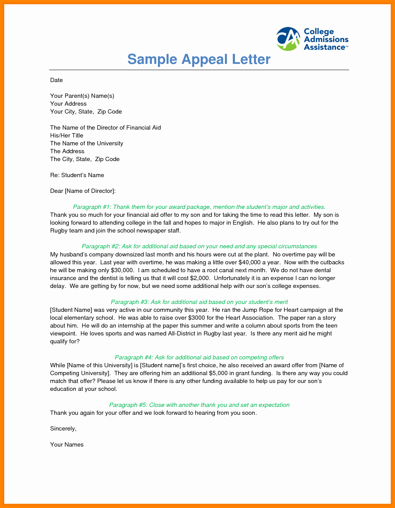 Financial Aid Appeal Letter format Unique 5 Financial Aid Appeal Letter Sample Reinstatement